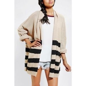 UO BDG Tan Black Striped Chunky Knit Open Cardigan